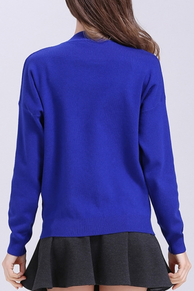 Sequined Long Neck Round Sweater Printed Pullover Embellished Airship Sleeve Letter xqPwgg