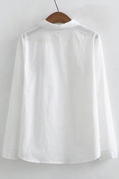 Cartoon Front Shirt Paw Long Bear Lapel Button Sleeve Chic Embroidery 6YRw5zxqn