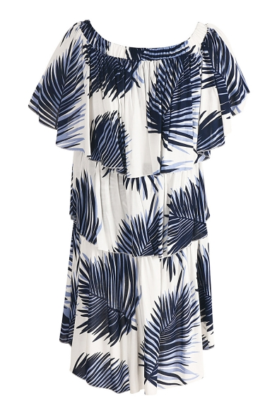 Chic Off the Shoulder Plant Leaf Tropical Print Ruffle Detail Dipped Hem Layered Dress