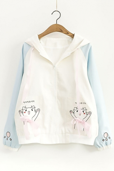 Childish Cat Cartoon Paw Pattern Zip Up Hooded Bow Detail Color Block Jacket