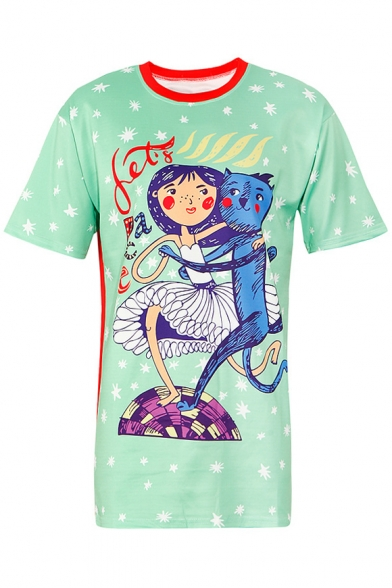 Block Color Short Tunic Round Leisure Cartoon Neck Tee Girl Printed Sleeve dnq6OrqB