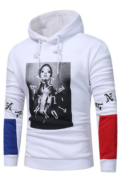 Print Letter Color Sleeves Character Block Pullover Long Cool Hoodie qBSwn
