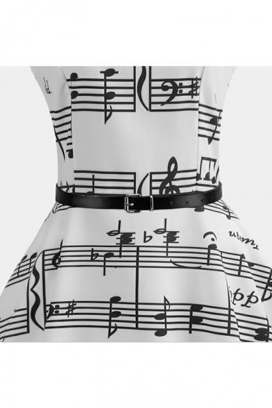 Elegant Music Note Pattern Belted Round Neck Midi Fit & Flare Monochrome Dress