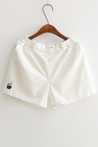Fashionable Milk Dog Embroidery Elastic Waist Loose Casual Shorts