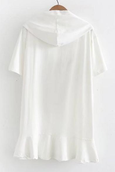 Ruffle Drawstring Embellished Hood Hem Mini Sleeve Dress Hooded Short Printed Deer Floral OA0xctqwBw