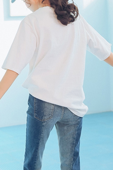 Loose Letter Neck WON'T Printed Fray Sleeve Tee I Round Short 85wEq