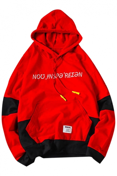 Block Leisure Hoodie with Pocket Embroidered Long Color Letter Sleeve Hn55qfwz