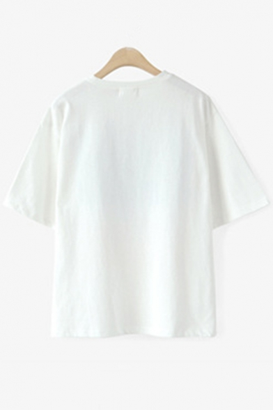 Letter Short Print Neck Round Sleeves Casual Graphic Leisure Tee dHfqwCd