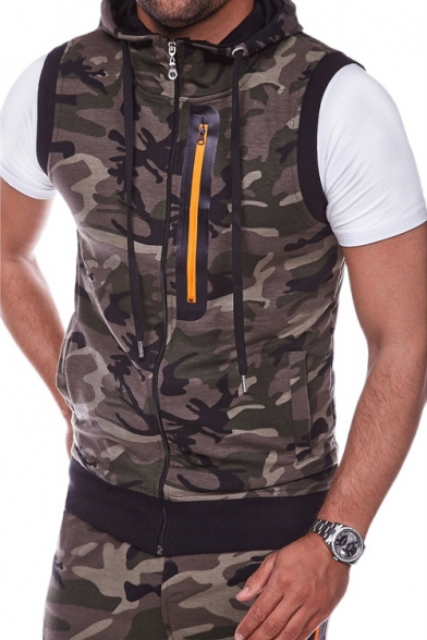 Men's Fashion Camouflaged Pattern Zip Up Hooded Sleeveless Slim Vest