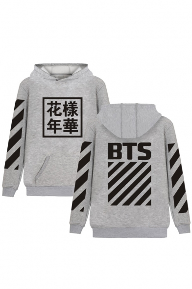 Sleeves Chinese Long Striped Popular Print Letter BTS with Pullover Hoodie Pocket xqYfxw15
