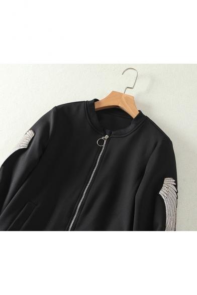 Retro Crane Floral Embroidery Zip Up Loose Long Sleeve Baseball Jacket