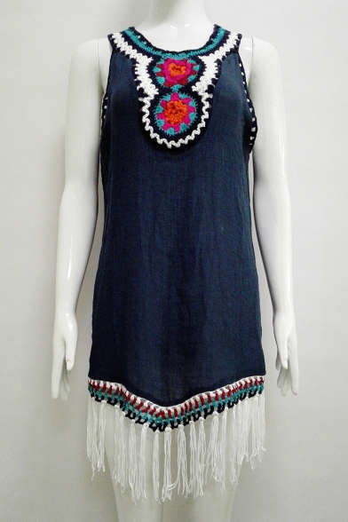 Retro Tribal Embroidery V-Neck Sleeveless Tassel Hem Mini Tank Dress