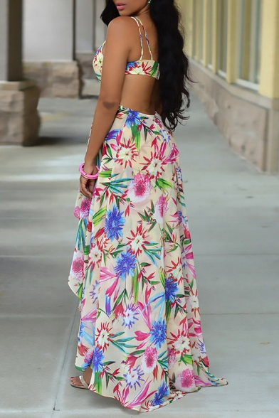 Sexy Holiday Floral Printed Spaghetti Straps Sleeveless Hollow Out Asymmetric Hem Maxi Dress
