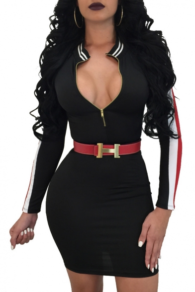 Sexy Plunge Neck Striped Pattern Zipper Front Belted Bodycon Mini Dress
