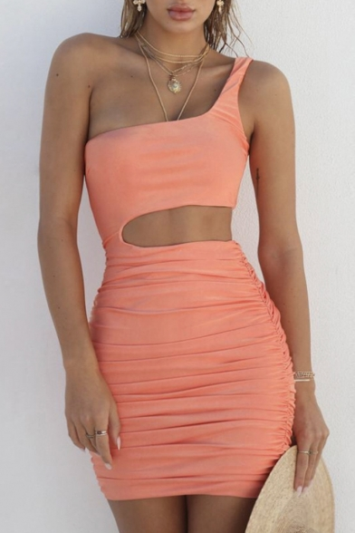 Simple Plain One Shoulder Hollow Out Waist Ruched Detail Mini Bodycon Dress