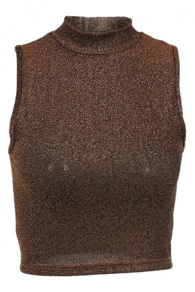 Cropped High Top Plain Neck Spring Tank Sleeveless Fashion 1HWqwWnSU