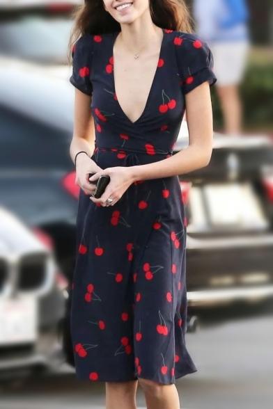 Stylish Cherry Printed V Neck Tied Waist Short Sleeve Midi Wrap Dress