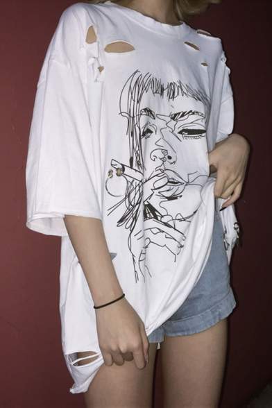 Tee Neck Loose Print Ripped Graffiti Cartoon Vogue Detail Round Smoking Off Ring nxgzqPw