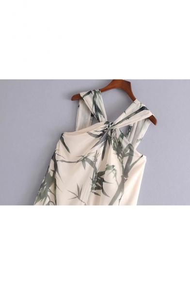 Chic Bamboo Print Knotted Back Sleeveless Mini Shift Dress