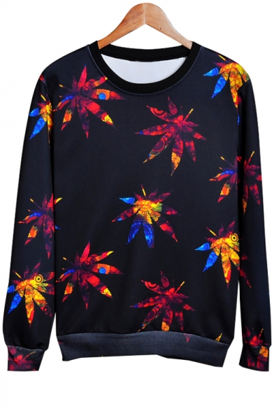Baycheer / Fallen Leaves Printed Round Neck Long Sleeve Pullover Sweatshirt