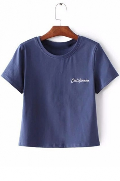 Summer Sleeves Short shirt Fancy Letter Round Neck T Cropped Embroidery wSnqHq6Y