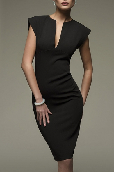 Fancy Plain Notched Front Cap Sleeve Midi Pencil Elegant Dress