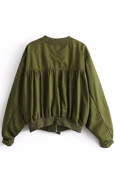 Fashion Stand Up Collar Long Sleeve Plain Ruffle Detail Zip Up Jacket with Pockets