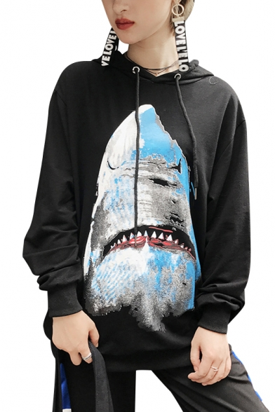 Hoodie Sleeves Print Hot Long Shark Pullover Cool Women's w7wq0A