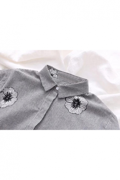 Monochrome Shirt Front Floral Hem Sleeve Embroidered Long Dipped Button gdwgnprq8a