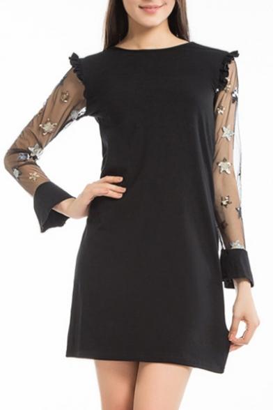 Pentagram Embellished Sheer Mesh Insert Long Sleeve Round Neck Ruffle Detail Mini A-Line Dress LC467236 фото