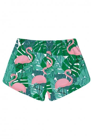 Popular Flamingo Leaf Printed Drawstring Waist Shorts