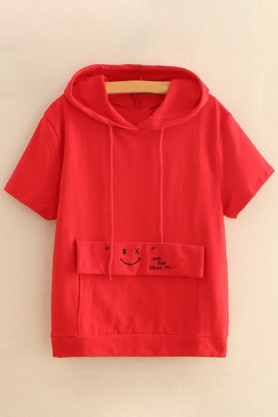 Sleeve Letter Tee Simple Embroidered Hooded Pocket Short Face with IZxxaw