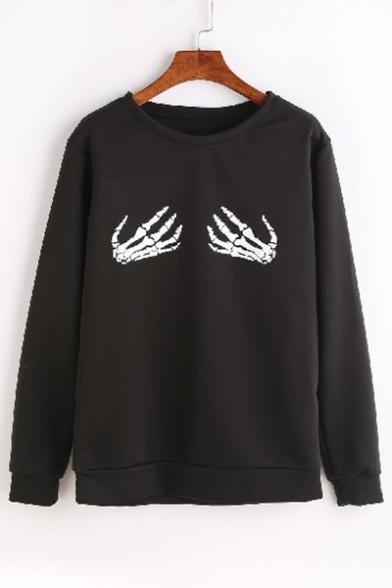 Stylish Skeleton Hand Print Round Neck Long Sleeves Pullover Sweatshirt LC465194 фото