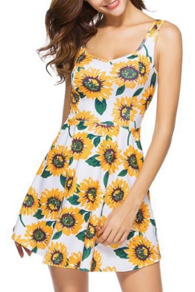 7b15673c6e5 Summer Collection Floral Sunflower Print Scoop Neck Sleeveless Mini Tank  Dress ...