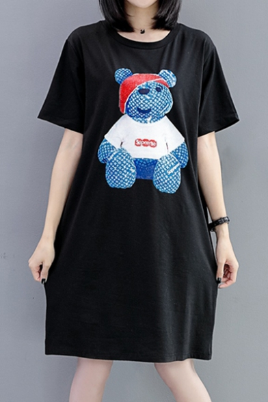 Cartoon Bear Printed Round Neck Short Sleeve Midi T-Shirt Dress