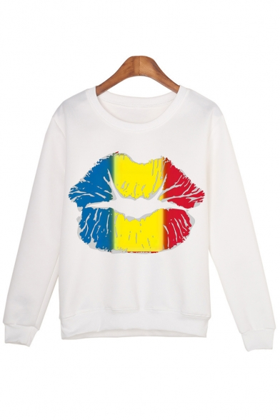 Sleeve Colorful Printed Sweatshirt Neck Lip Round Pullover Long arRXwrxCq