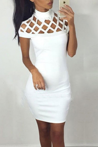 Elegant Lattice Shoulder High Neck Cap Sleeve Hollow Out Plain Bodycon Mini Dress