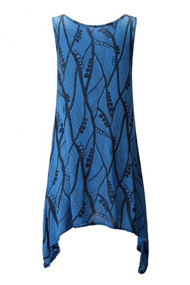 Fashion Tank Neck Hem Asymmetric Sleeveless Scoop Tunic Printed Hn0wqErSH