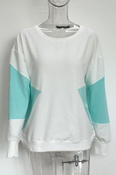 Hot Color Long Round Sleeves Pullover Sweatshirt Neck Block Sale Casual 44q6BwrP