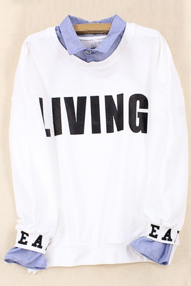 Sweatshirt Letter Printed Fake Sleeve Lapel Pullover Two Collar Pieces Long wX4SWIzqc