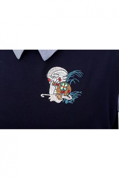 Floral Fashion Embroidery Old Patchwork Lapel Layered Sweatshirt Cartoon School wISR4fq