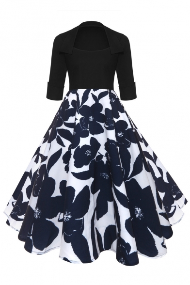 Popular Half Sleeve Floral Pattern Square Neck Midi Fit & Flare Dress
