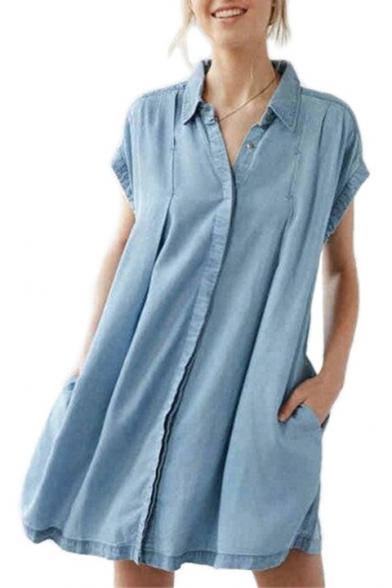 Pocket Button Shirt Lapel Dress Bow Mini Tied Back Detail Sleeve Denim Popular Front Cap 75XCxwqqZ