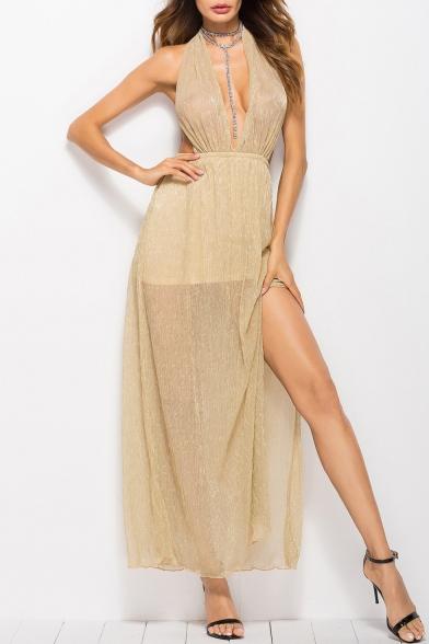 Sexy Halter V Neck Open Back Sleeveless Split Side Plain Maxi Dress