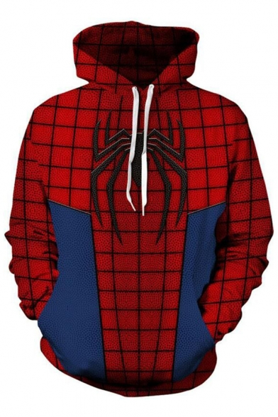 Long Leisure Plaid Sleeve Hoodie Printed Color Block Spider nx6a74gc