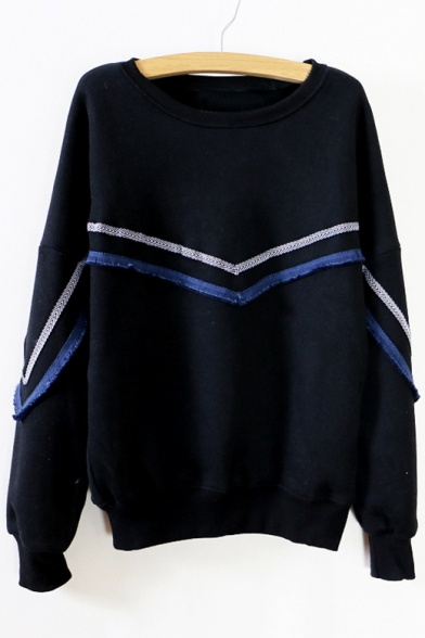 Long Pattern Striped Sweatshirt Sleeves Neck Round Pullover Stylish gWvqxp1nW
