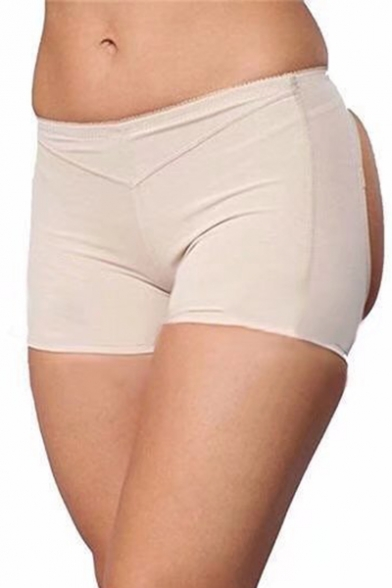 a6ce3fe18e4 ... Women s Sexy Plain Elastic Waist Hollow Back Slim Fit Skinny Underwear  Shorts ...