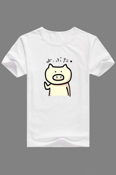 Adorable Cartoon Pig Printed Round Neck Short Sleeve Tee for Couple