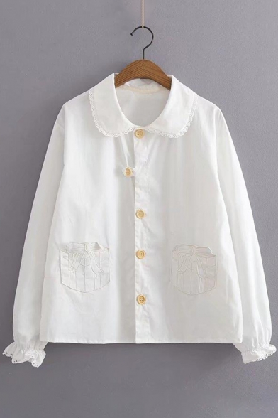 Shirt Patched Sleeve Peter Down Collar Pan Long Embroidered Pockets Buttons Bow 1wvqCp1