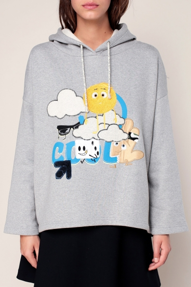 Hoodie Chic Cartoon Sun Letter Long Pullover Pattern Sleeves Cloud Loose pFqzp